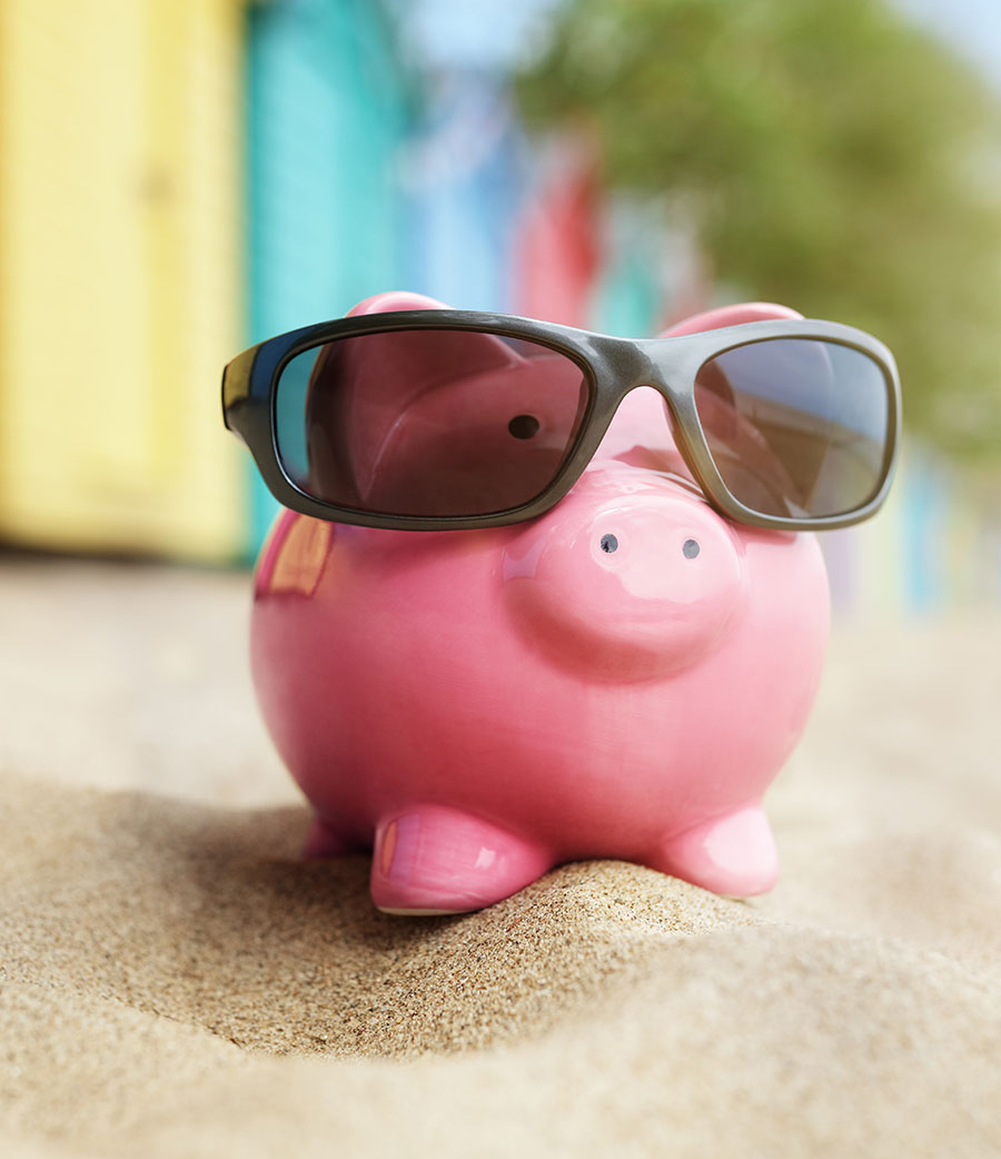 piggy bank on sand